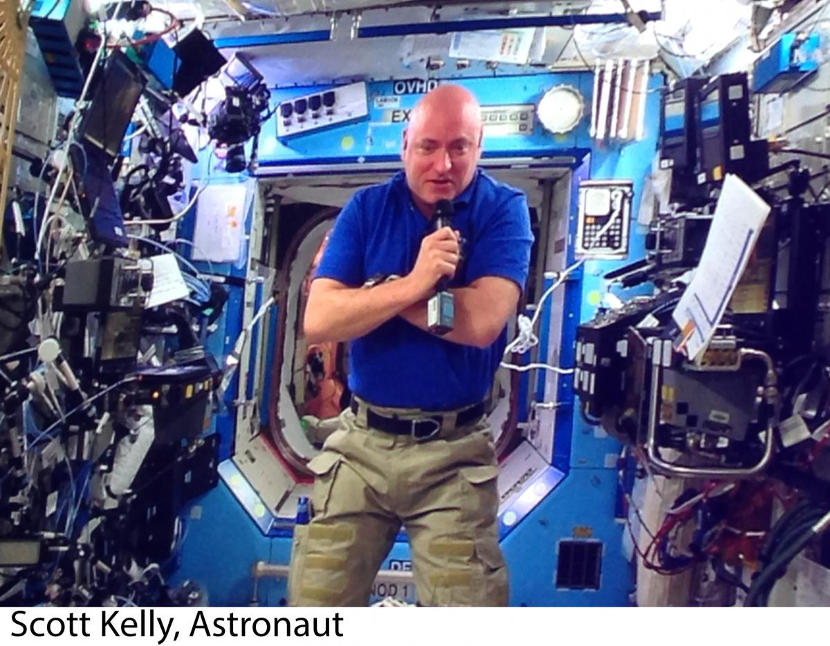 An image of Scott Kelly on the International Space Station