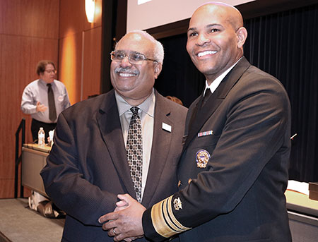 (L to R) Dr. Georges Benjamin; Surgeon General Dr. Jerome Adams